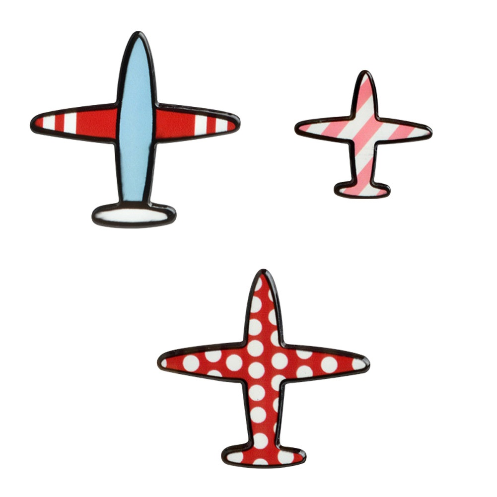 Bayan Liya Uçak Desenli Broş - 3 adet