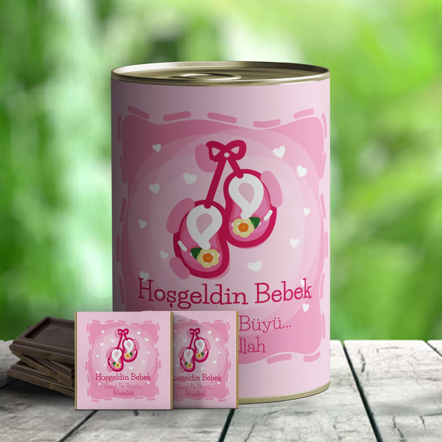 Hoşgeldin Bebek Çikolata Hediye Konservesi - Pembe