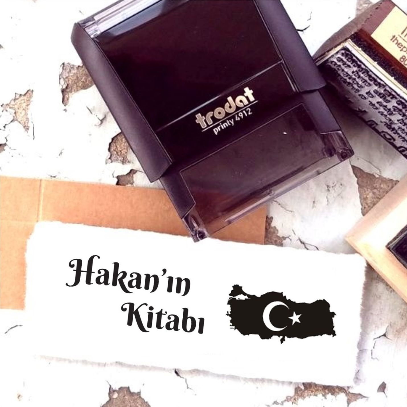 Kişiye Özel Türkiye Haritası Retro Kitap Kaşesi - K1-6