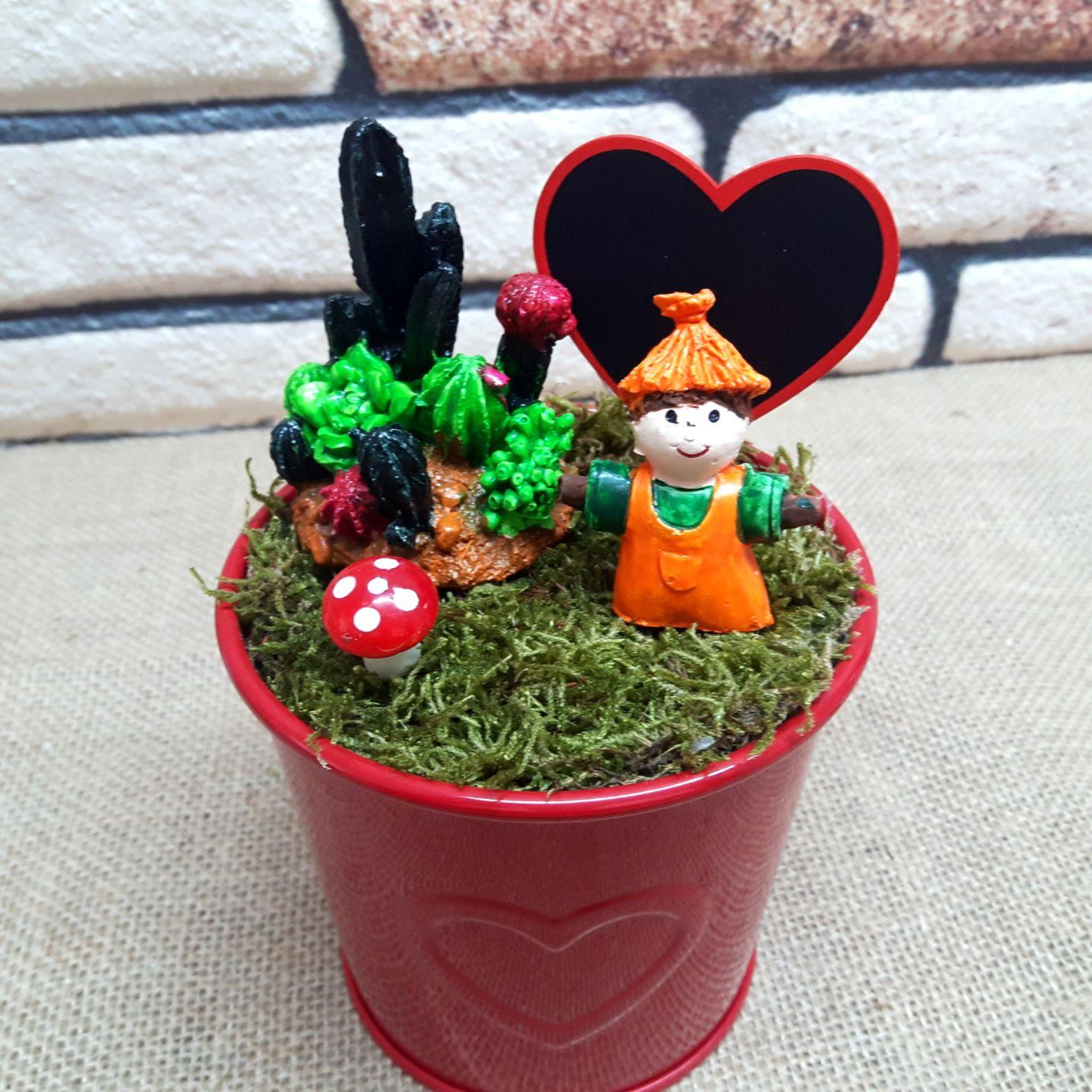 Kişiye Özel Sevimli Korkuluk Minyatür Bahçe Y-01
