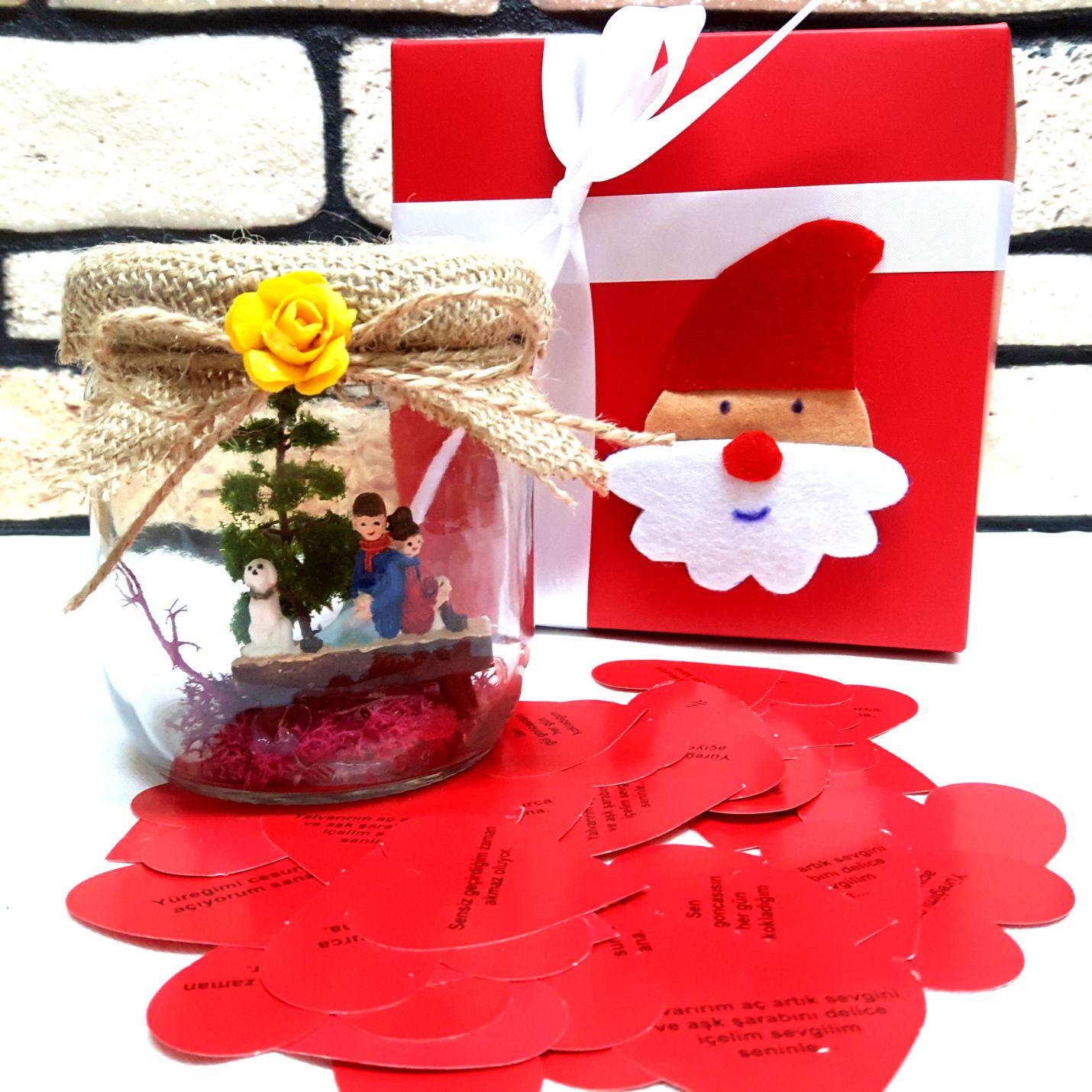 Noel Babalı Kutuda Minyatür Kavanoz Bahçe Y-03