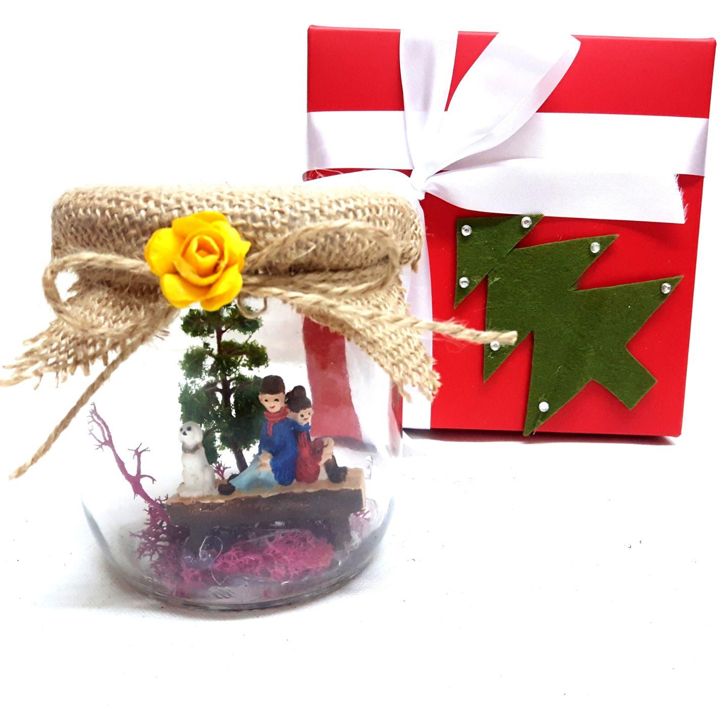 Kırmızı Kutuda Minyatür Kavanoz Bahçe Y-04
