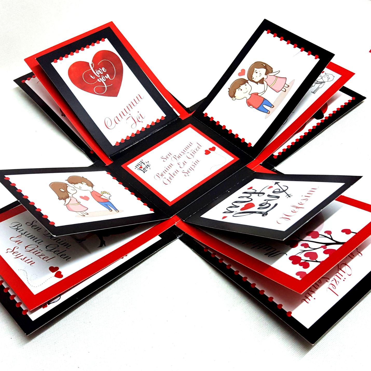 12 Farklı Romantik Söz ve Görsel İçeren Patlayan Kutu