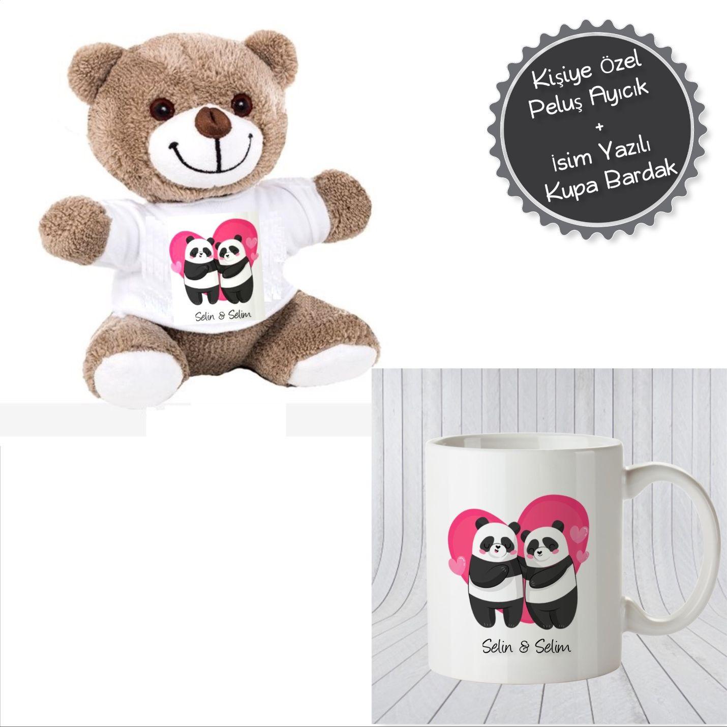 Kişiye Özel Panda Temalı Peluş Ayı ve Kupa Bardak Seti