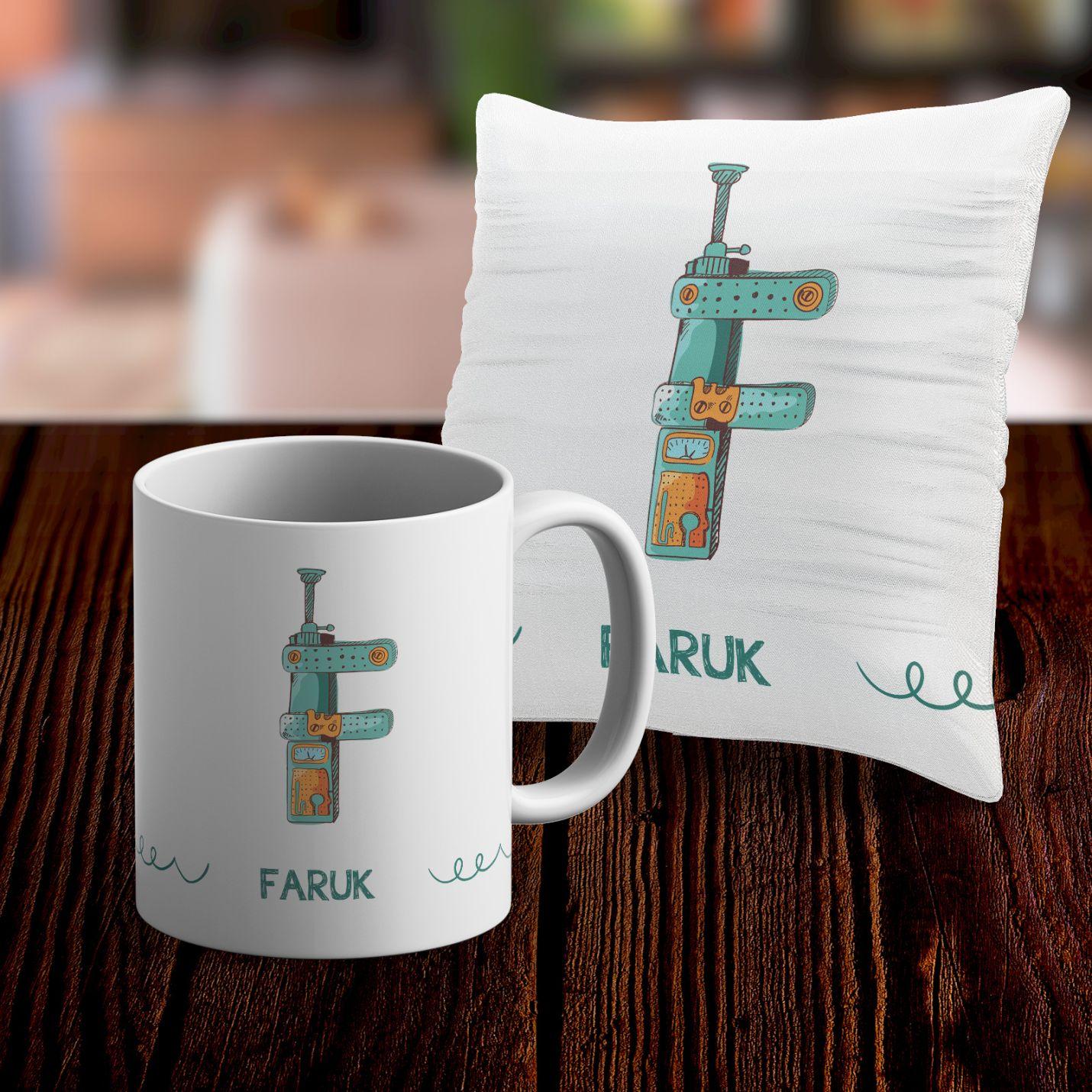 Kişiye Özel Kupa ve Yastık Kılıfı Seti - F
