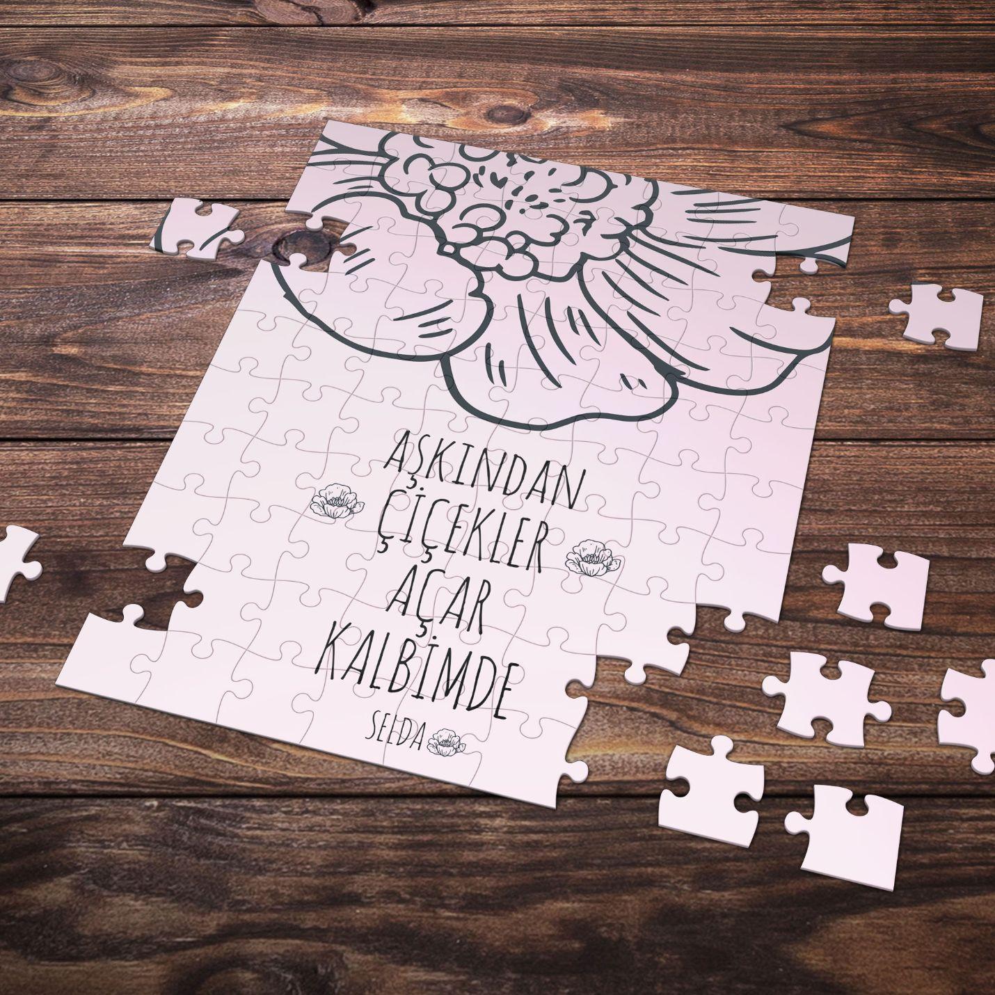 Kişiye Özel Romantik Tasarımlı Puzzle -P22
