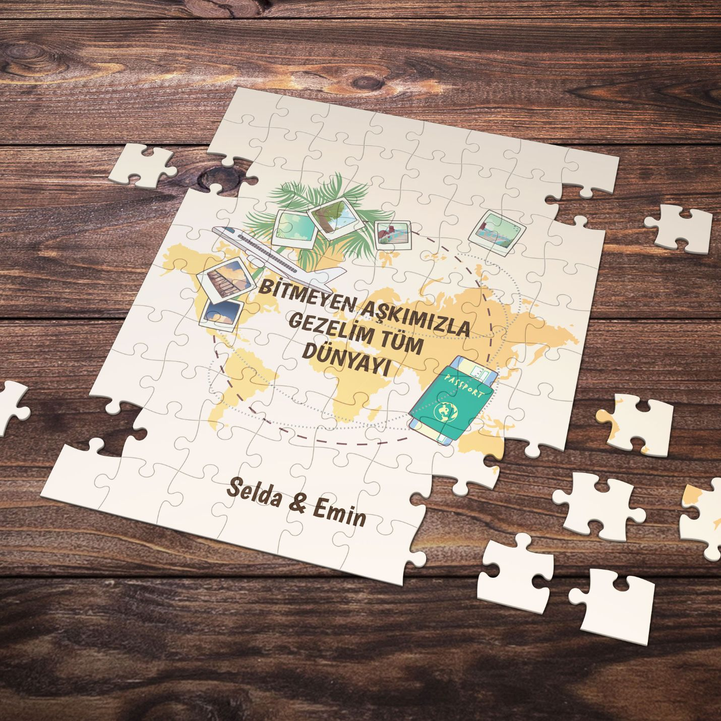 Kişiye Özel Romantik Tasarımlı Puzzle -P28