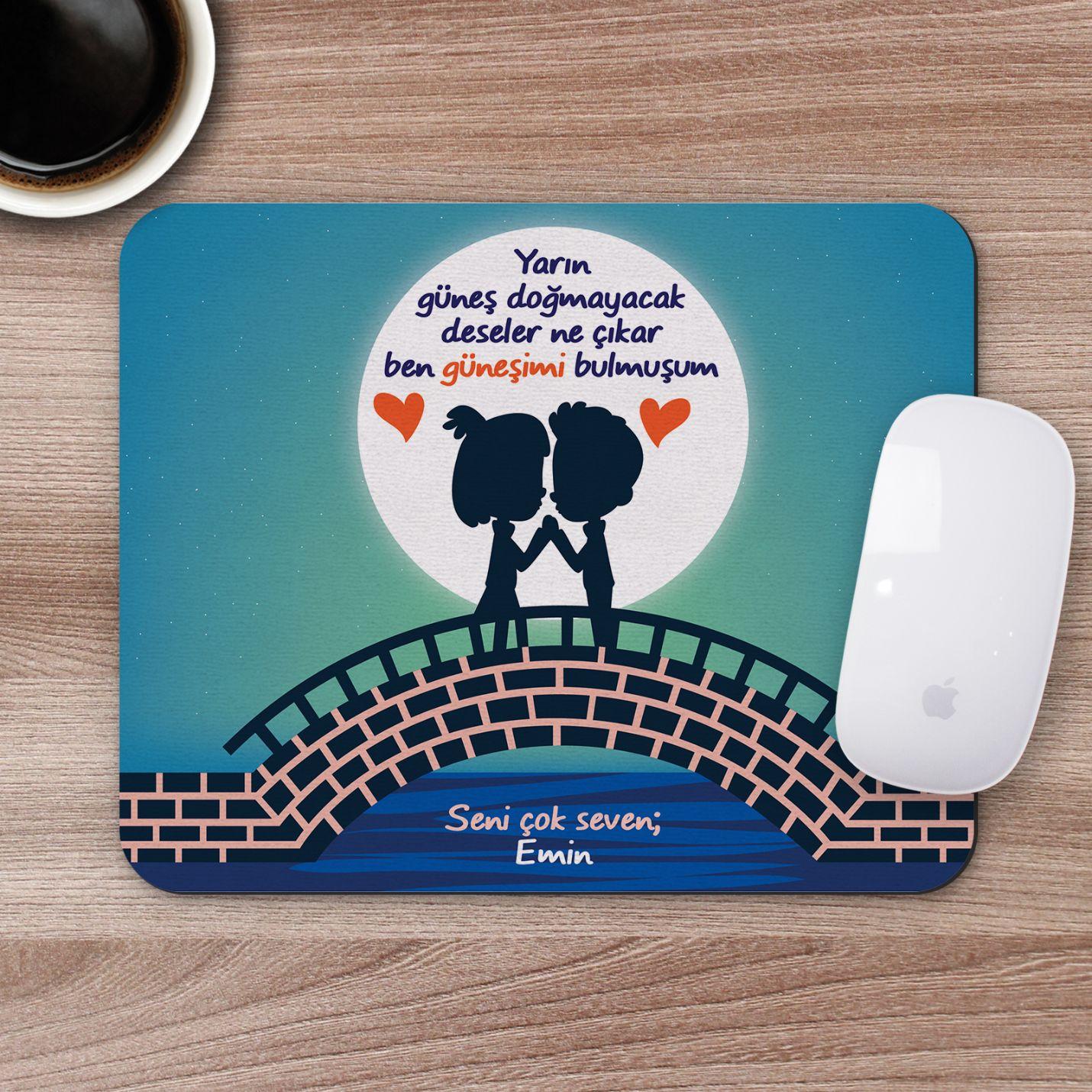 Kişiye Özel Romantik Tasarımlı Mousepad - R5