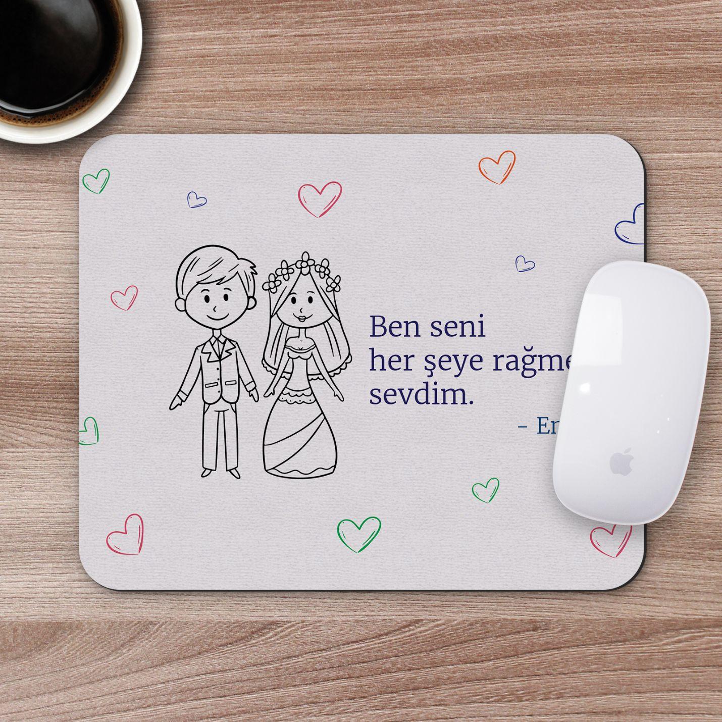 Kişiye Özel Romantik Tasarımlı Mousepad - R10