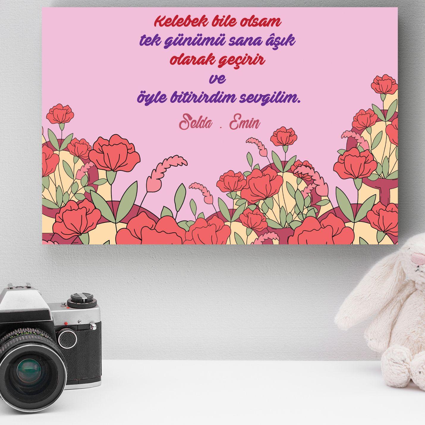 Kişiye Özel Romantik Tasarımlı Mini Kanvas -1