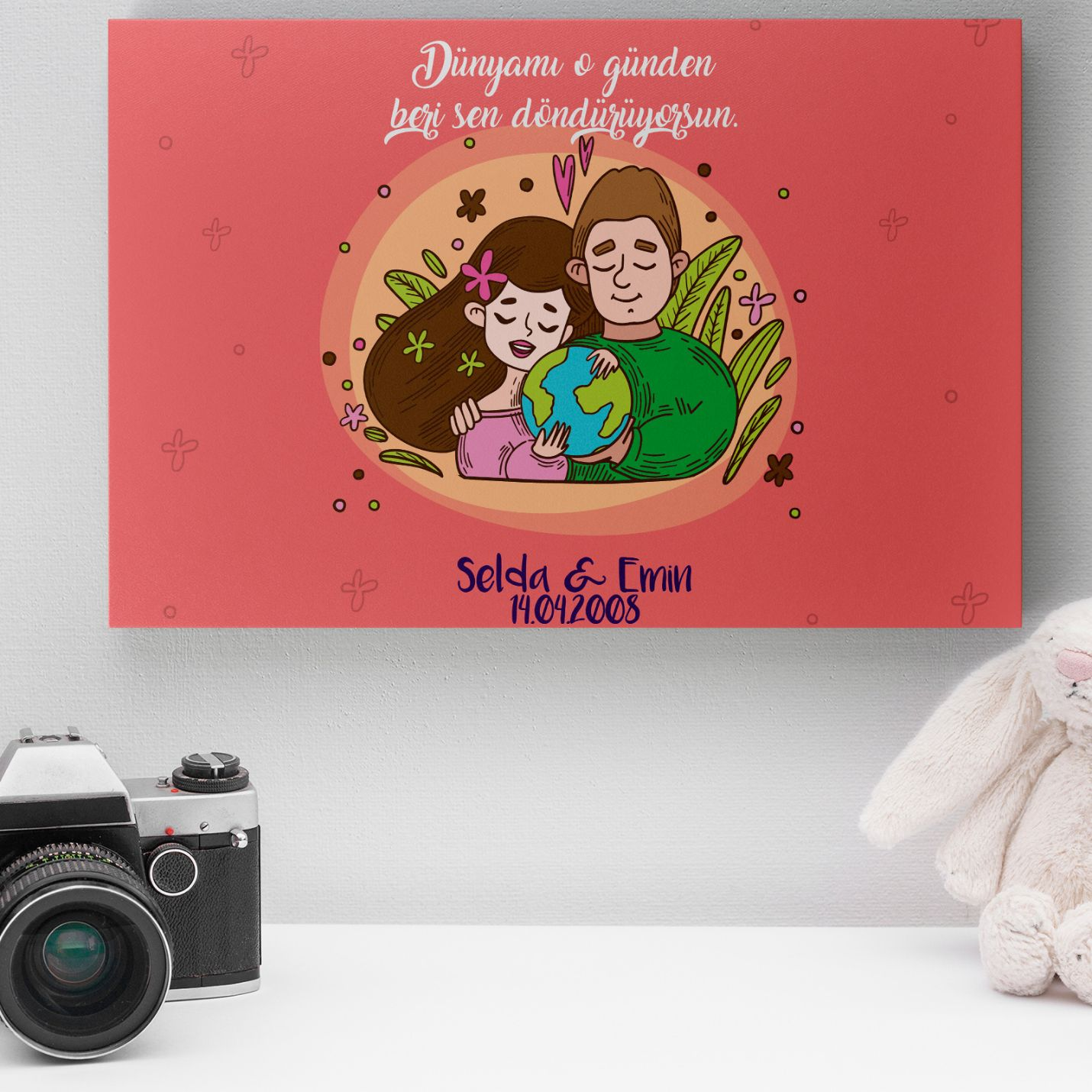 Kişiye Özel Romantik Tasarımlı Mini Kanvas -12