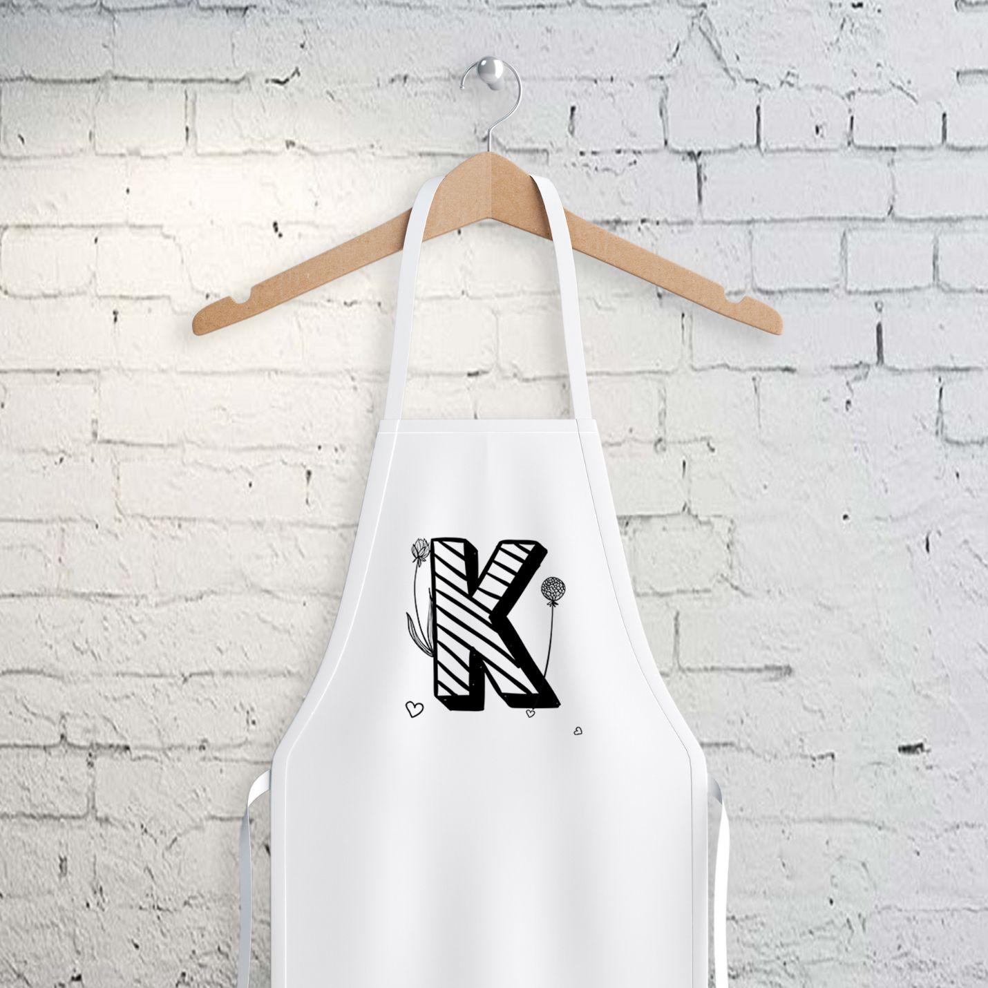 K Harfi Tasarımlı Mutfak Önlüğü