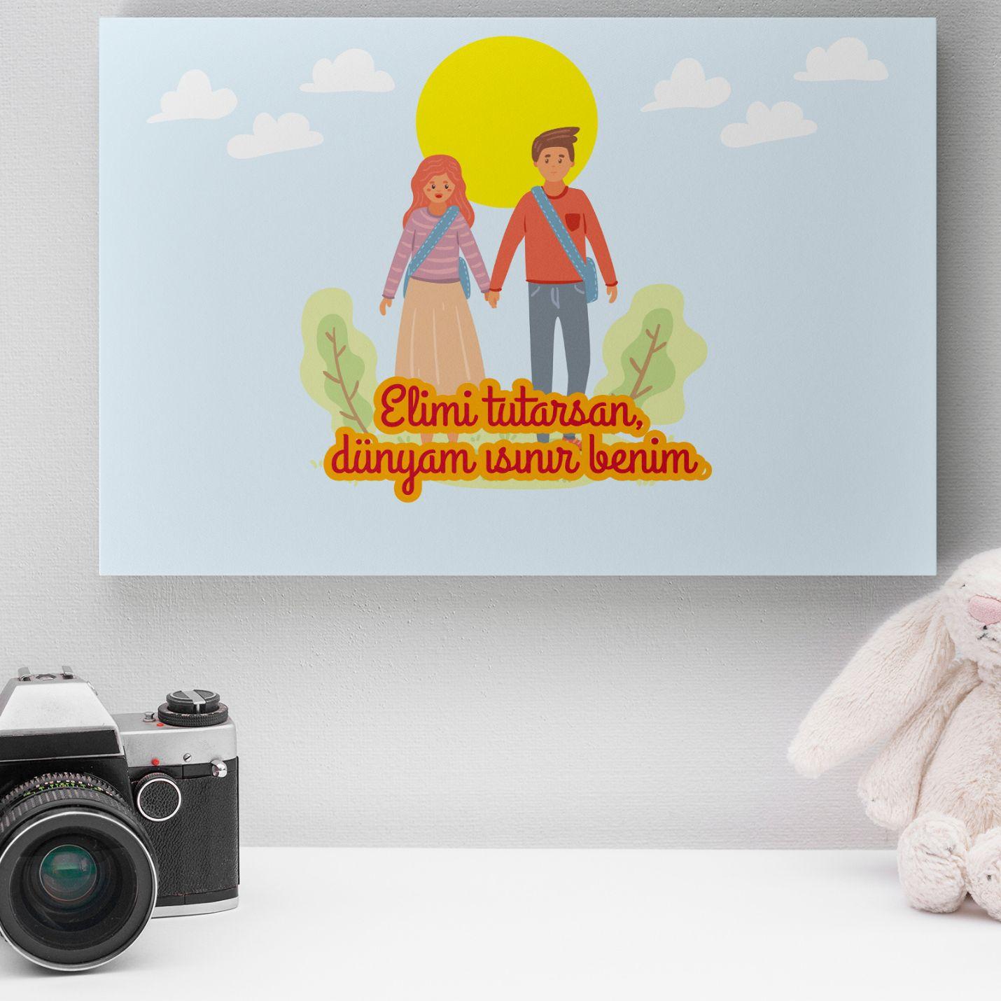 Romantik Tasarımlı Mini Kanvas Tablo - No16