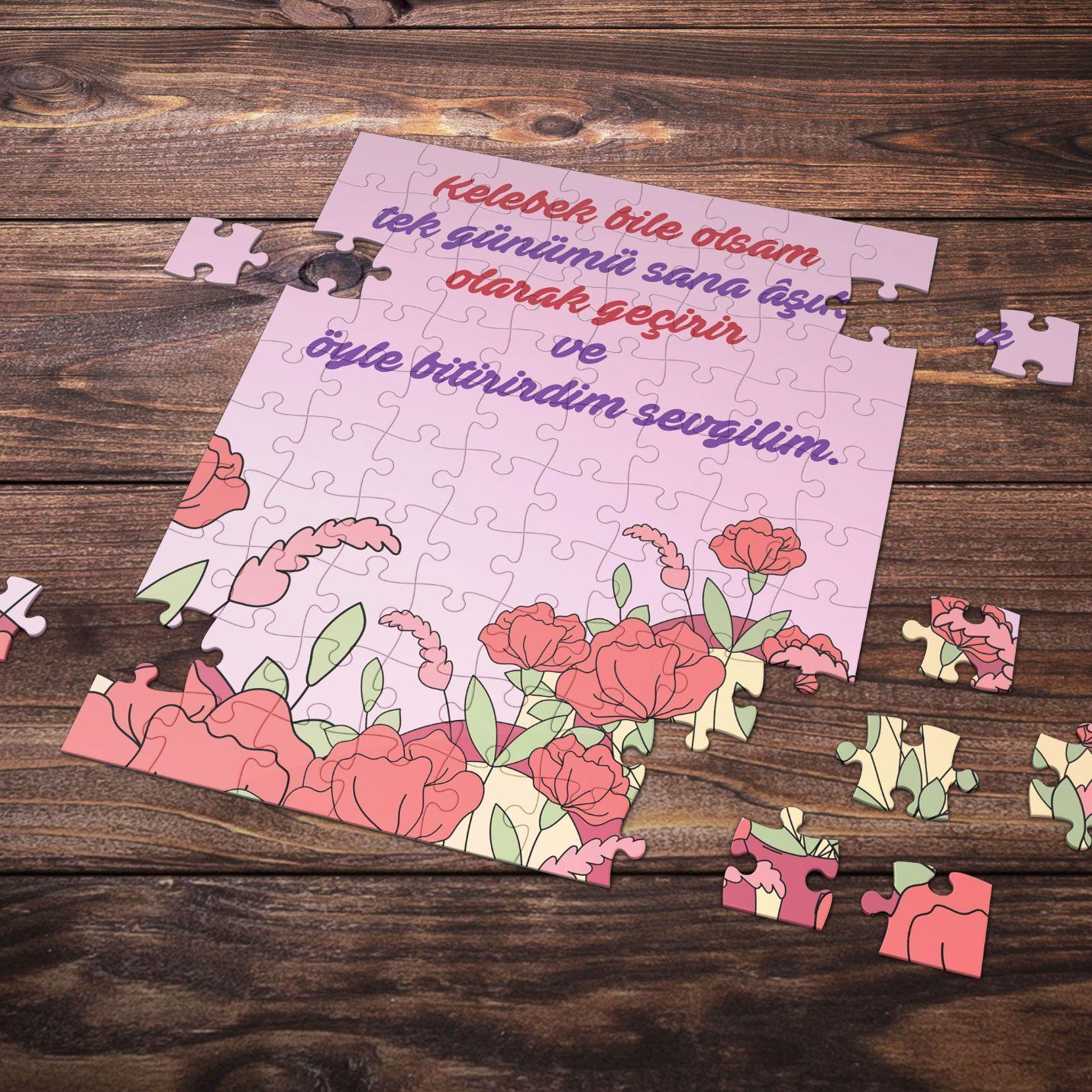 99 Parça Romantik Tasarımlı Puzzle Yapboz No1