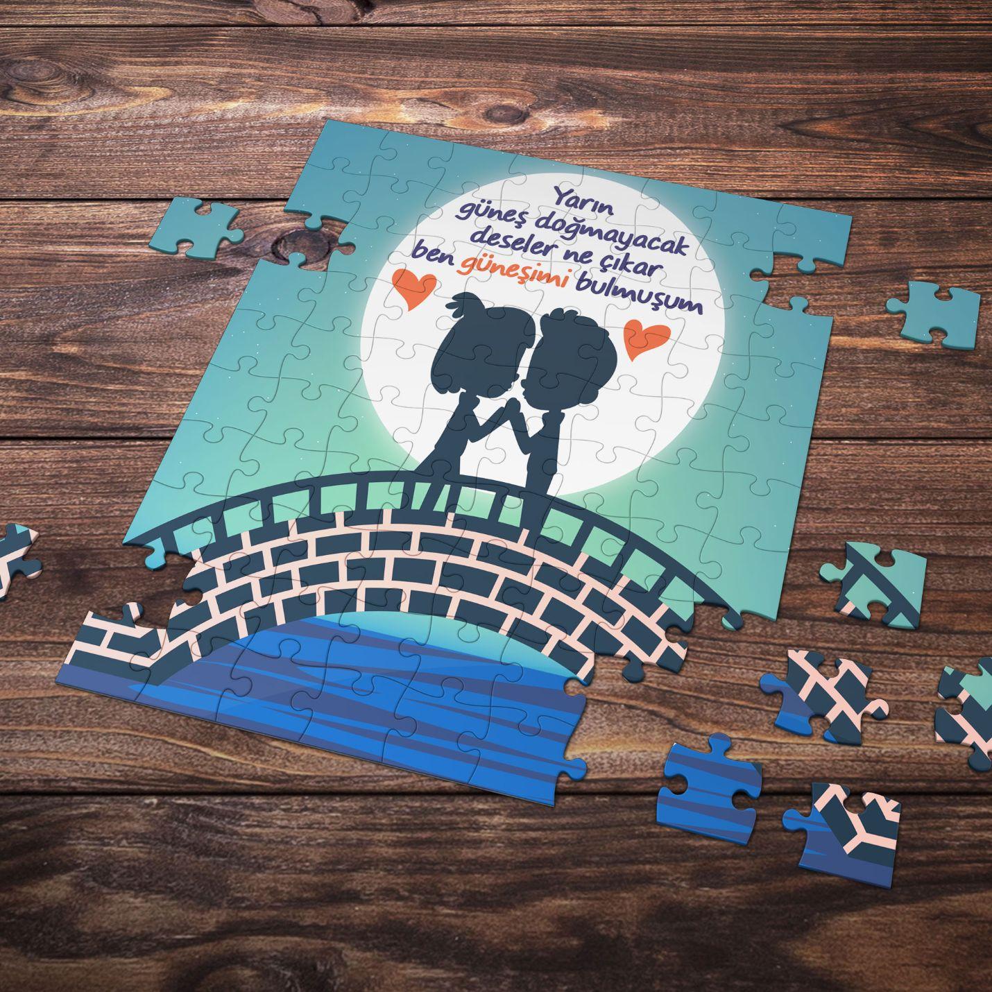 99 Parça Romantik Tasarımlı Puzzle Yapboz No5