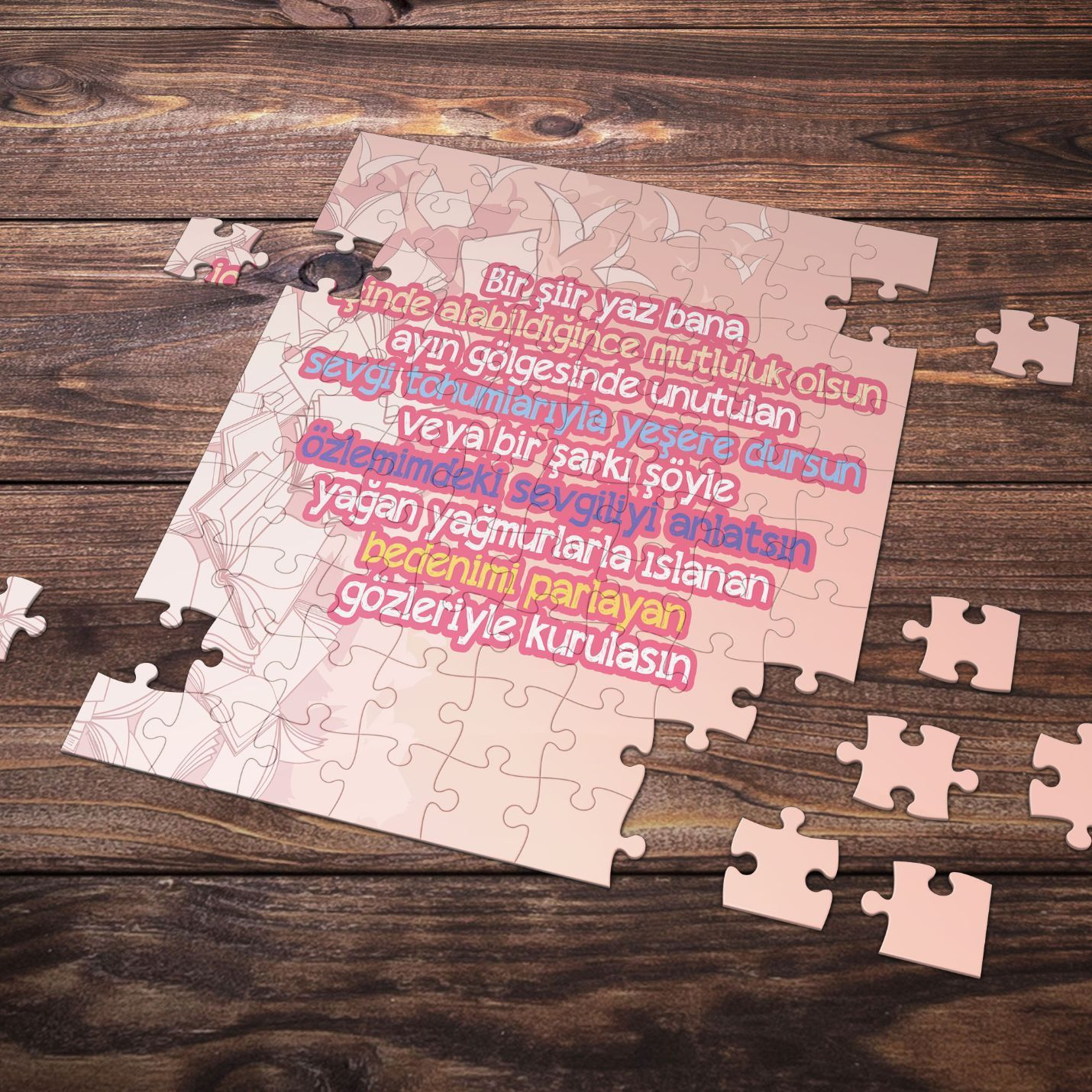 99 Parça Romantik Tasarımlı Puzzle Yapboz No6