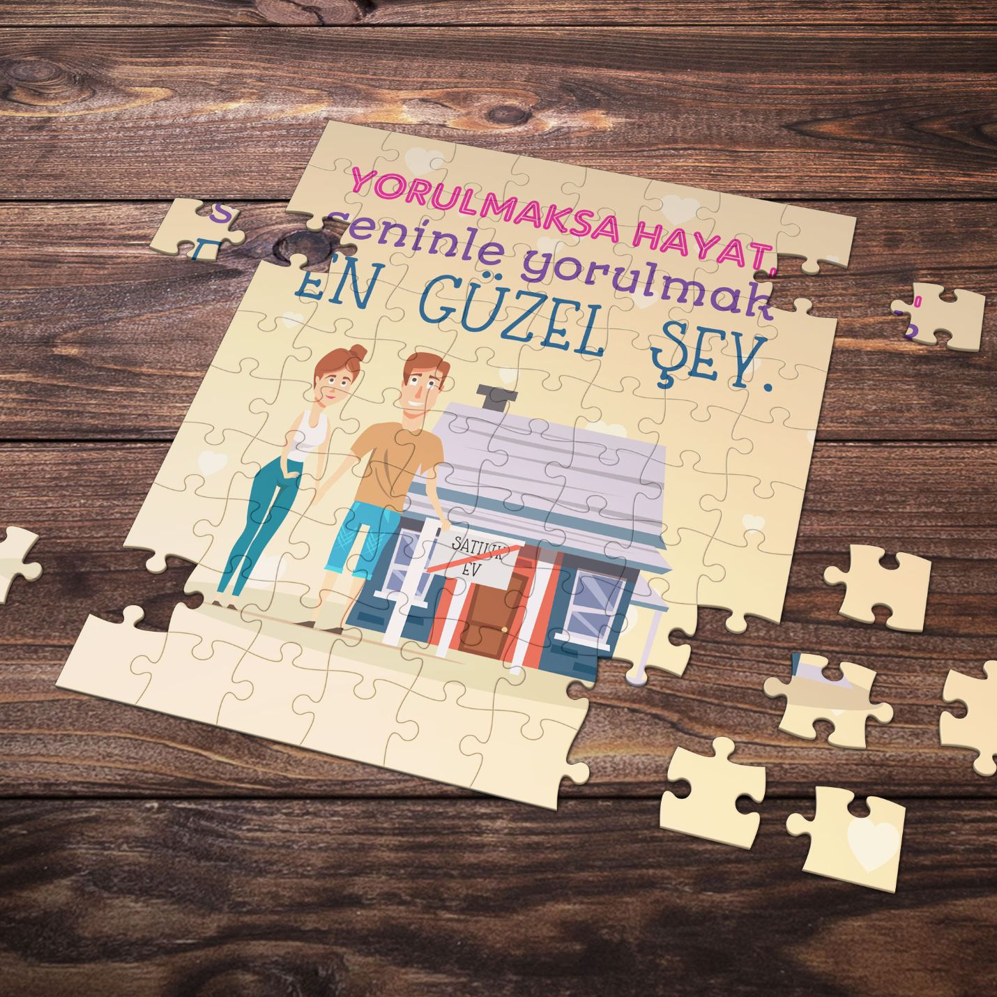 99 Parça Romantik Tasarımlı Puzzle Yapboz No8