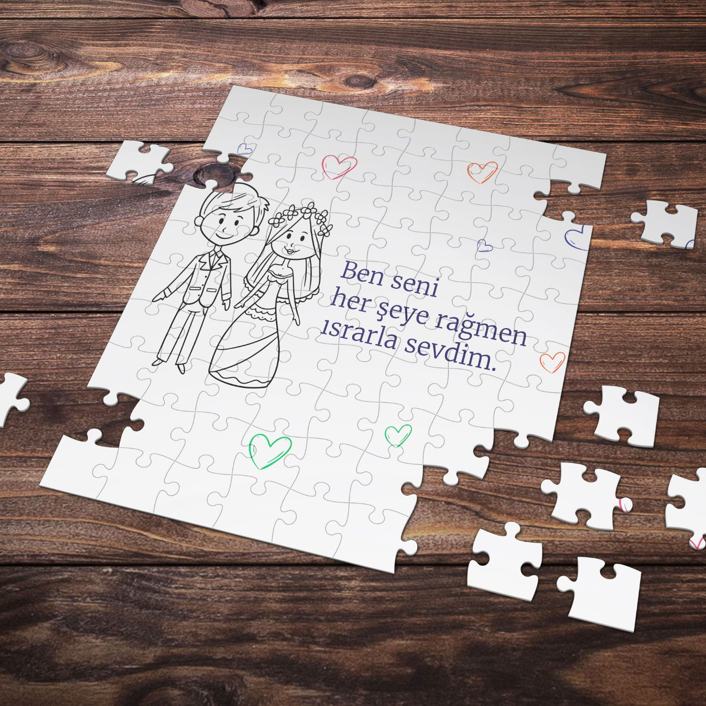 99 Parça Romantik Tasarımlı Puzzle Yapboz No10