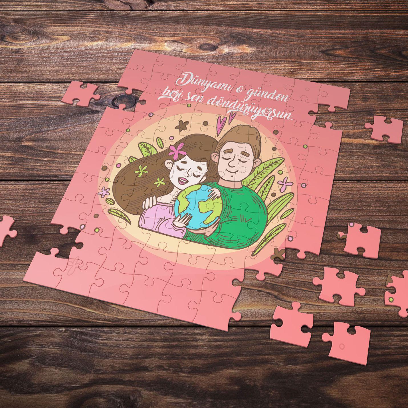 99 Parça Romantik Tasarımlı Puzzle Yapboz No12