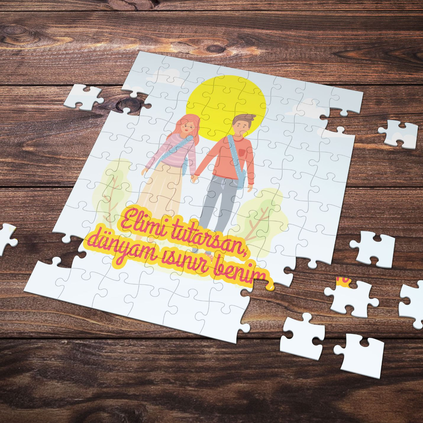 99 Parça Romantik Tasarımlı Puzzle Yapboz No16