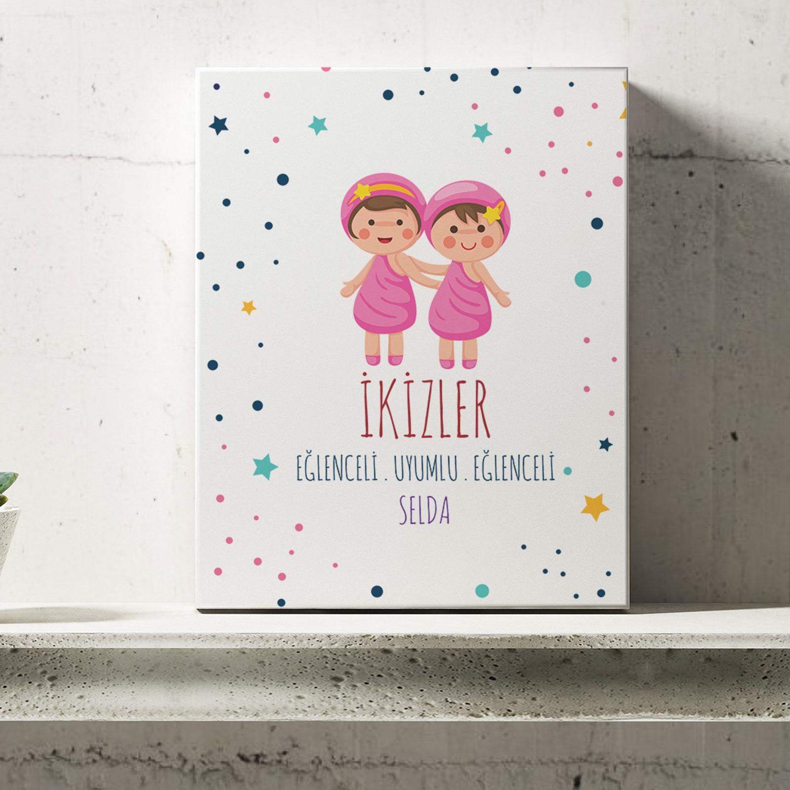 Kişiye Özel İkizler Burcu Temalı Kanvas Tablo -6