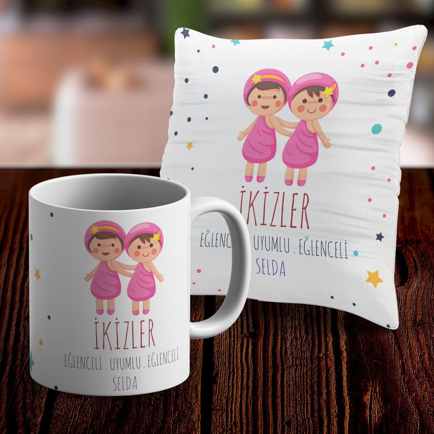 Kişiye Özel İkizler Burcu Temalı Kupa ve Yastık Kılıfı