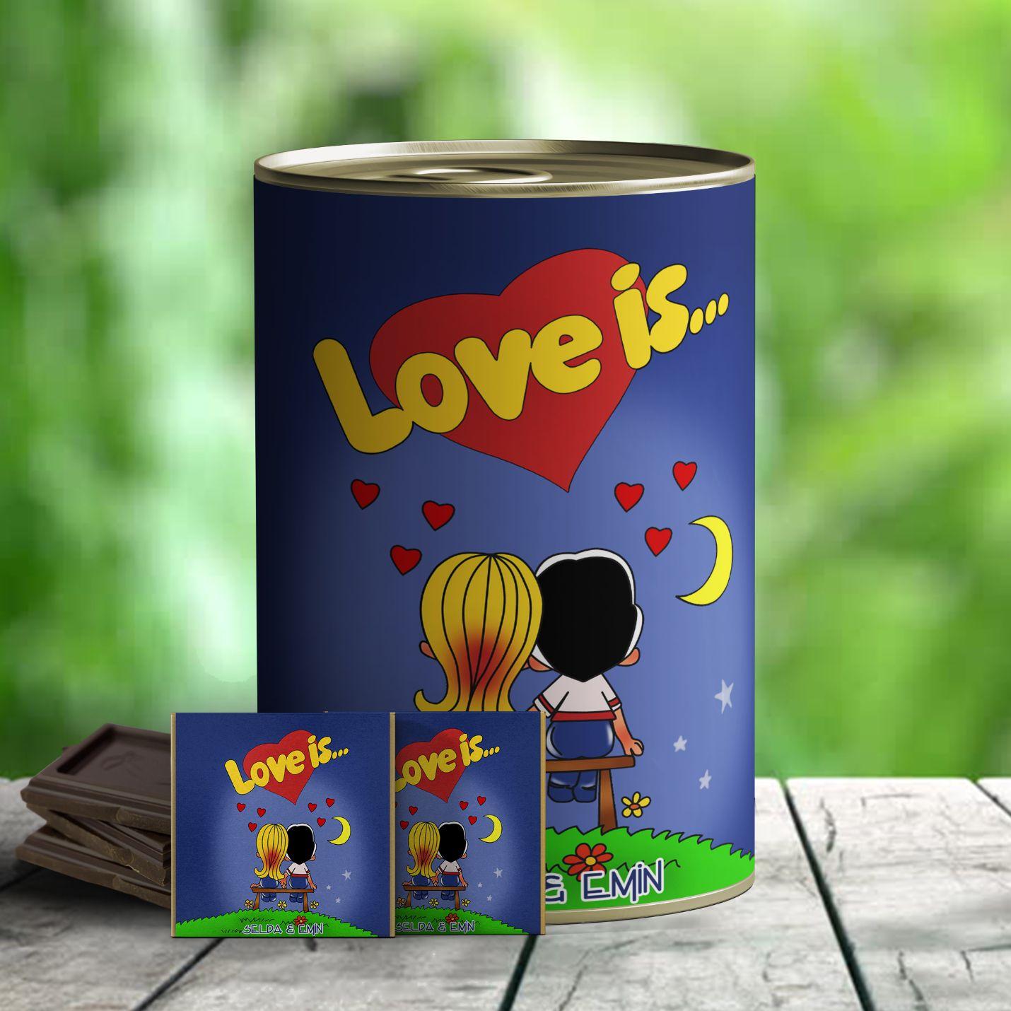 Kişiye Özel Çikolatalı Love is Hediye Konservesi