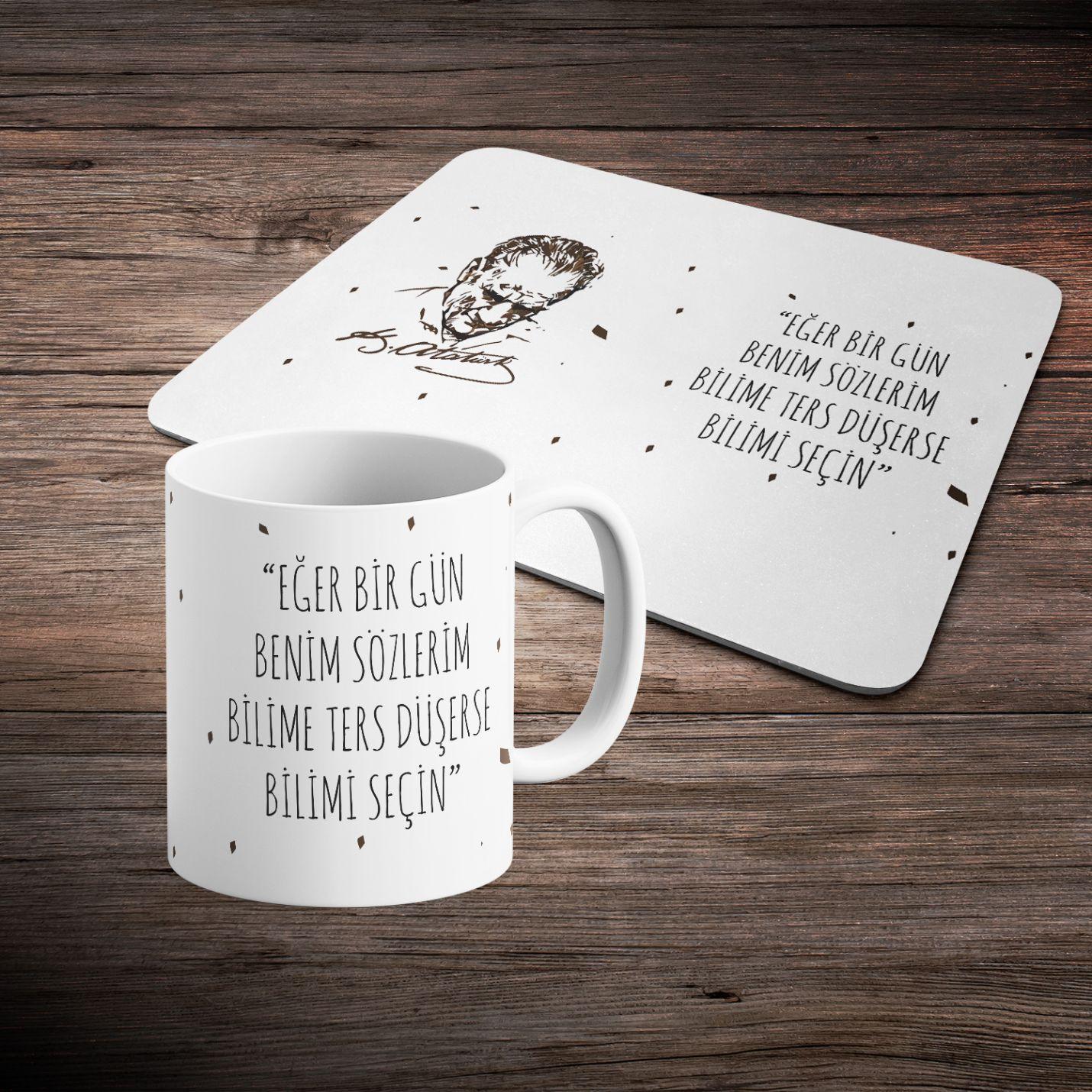 Atatürk Tasarımlı Kupa ve Mousepad Hediye Seti -1