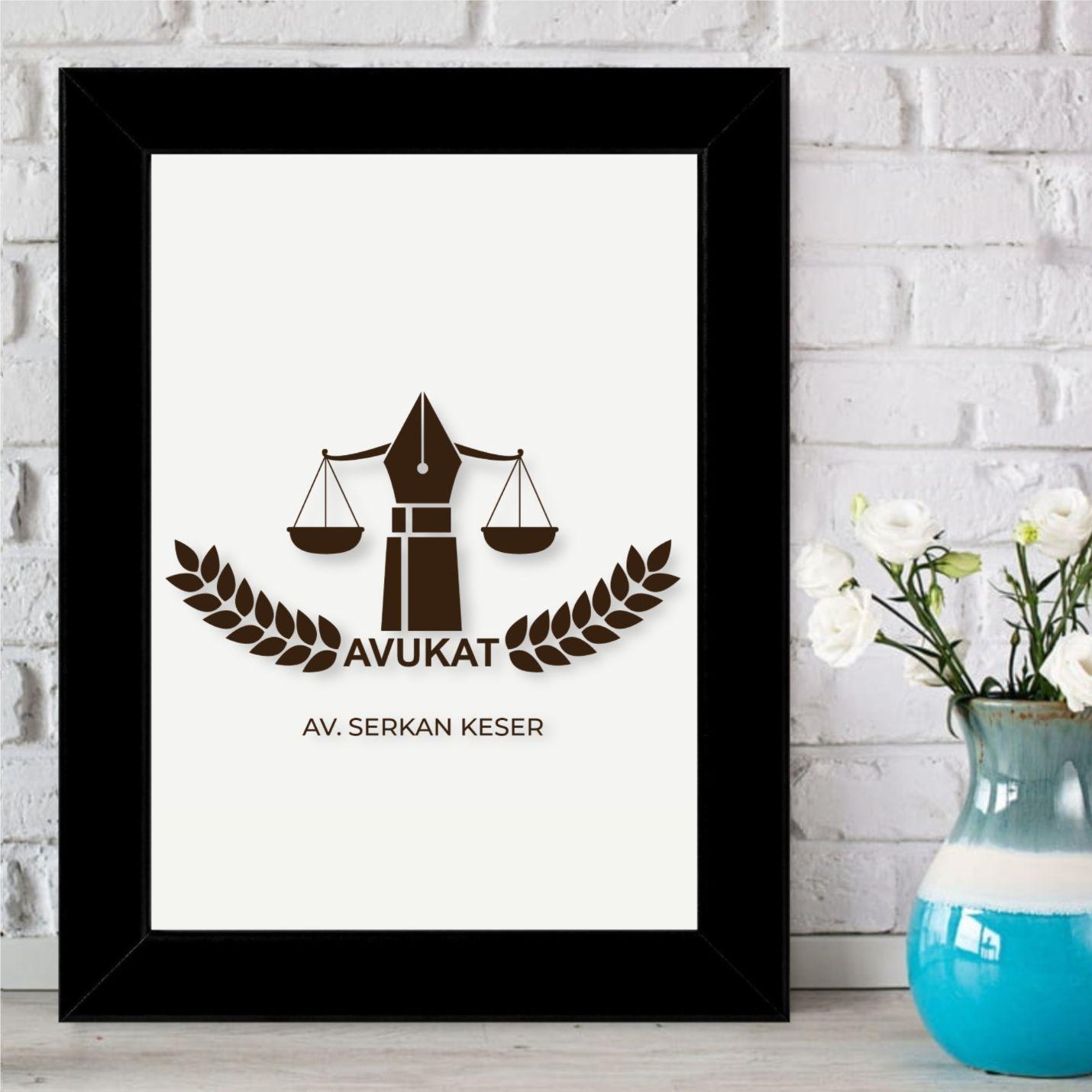 Kişiye Özel Avukat Tasarımlı Çerçeveli Pano