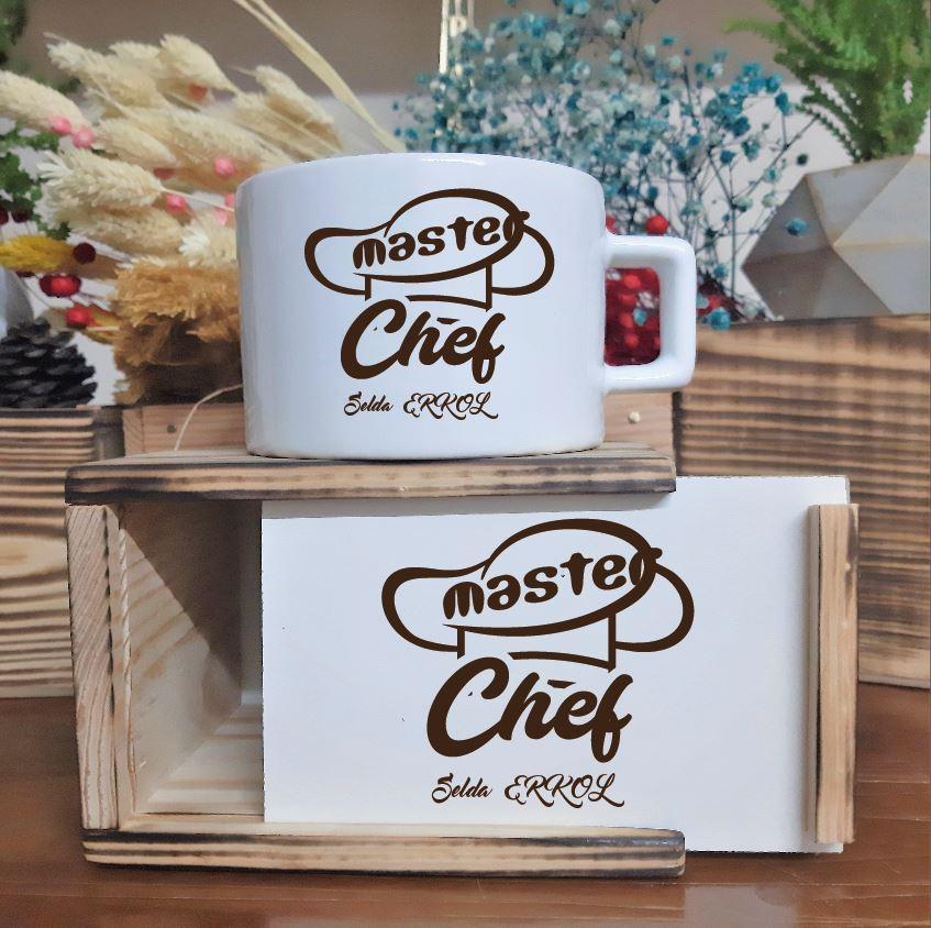 Kişiye Özel Master Chef Ahşap Kutu ve Lüks Fincan