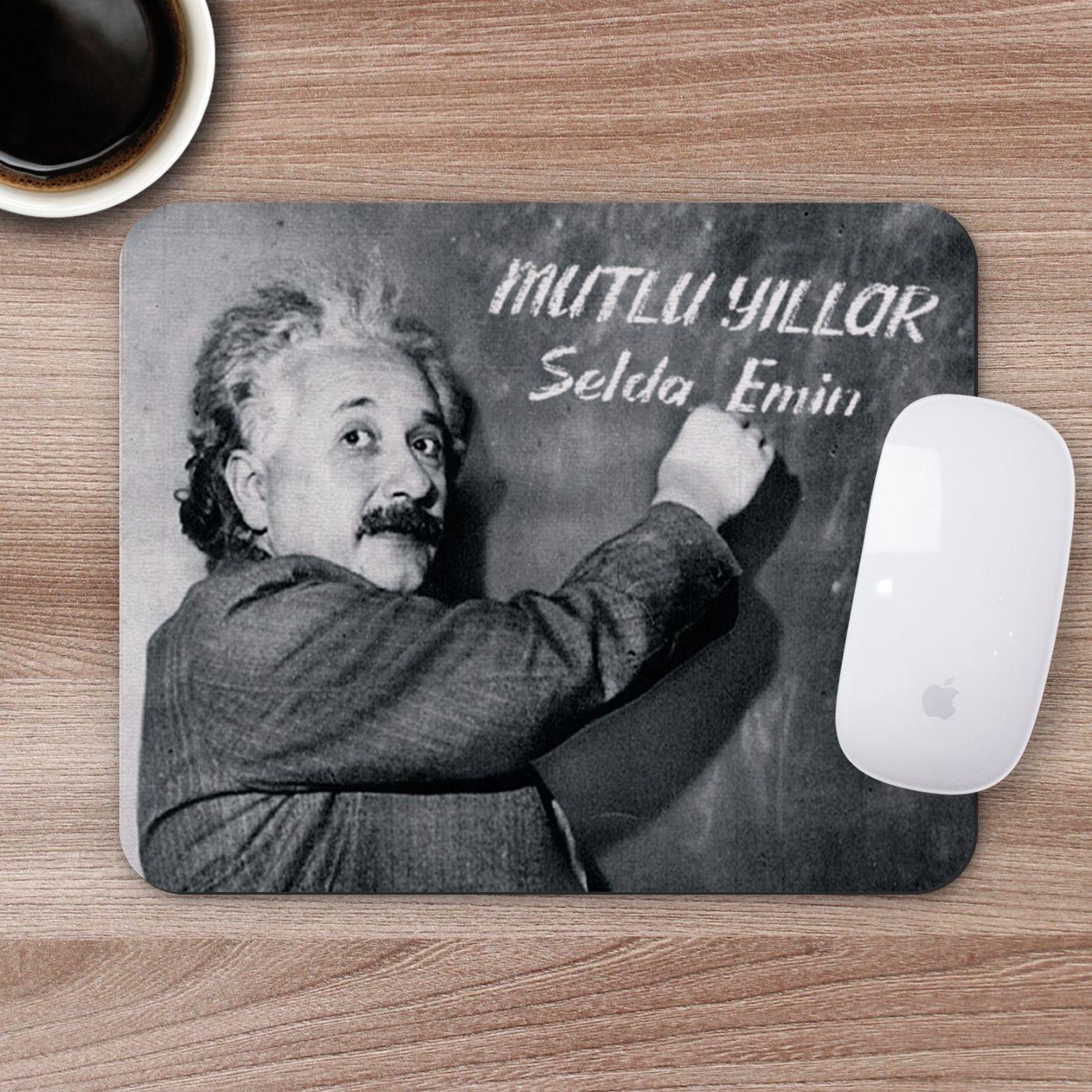 Kişiye Özel İsim Yazılı Einstein Tasarımlı Mousepad