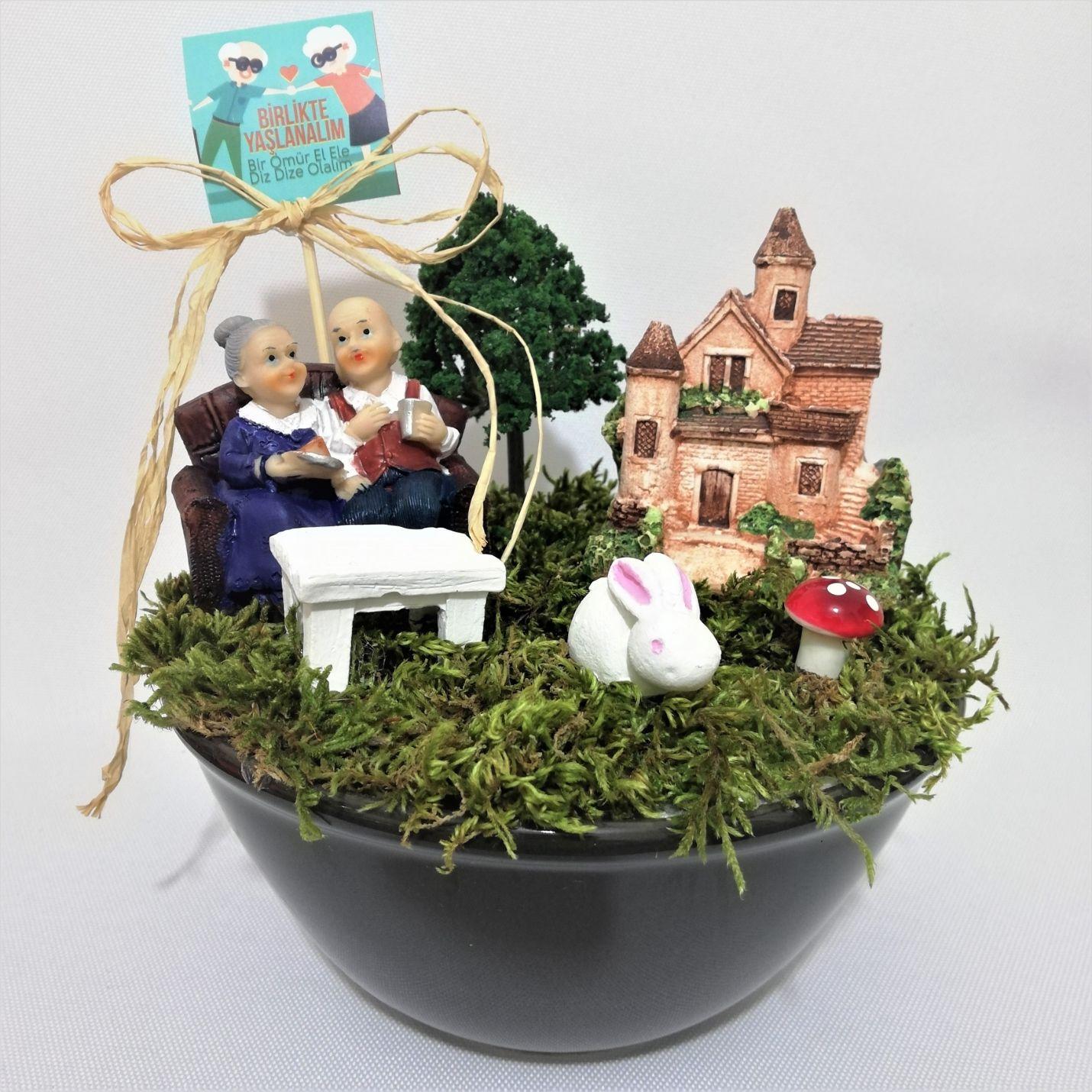 Birlikte Yaşlanalım Sevimli Yaşlı Çift Minyatür Bahçe -5