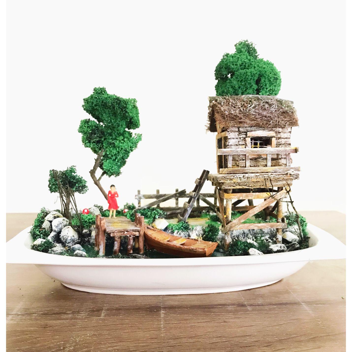 Bekleyen Sevgili Balıkçı Evi Teraryum Minyatür Bahçe
