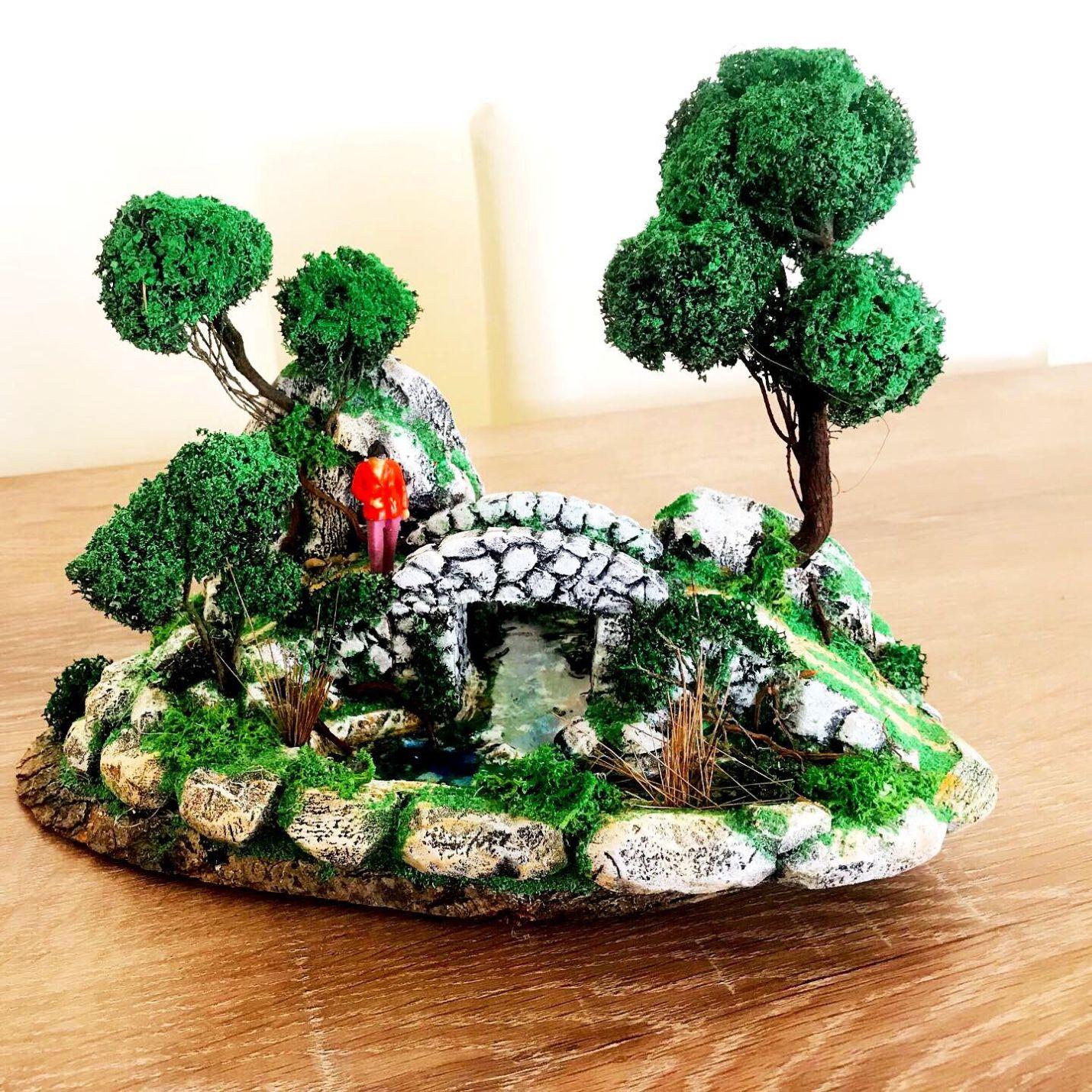 Köprüde Bekleyen Aşık Temalı Minyatür Bahçe