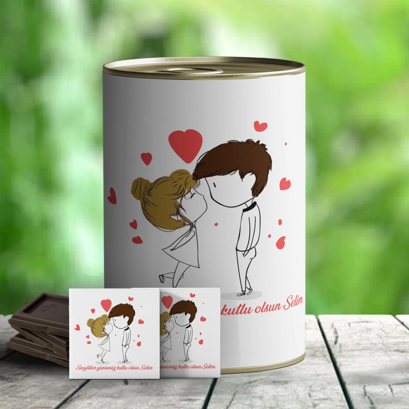 İsim Yazılı Sevgiliye Hediye Çikolata Konservesi