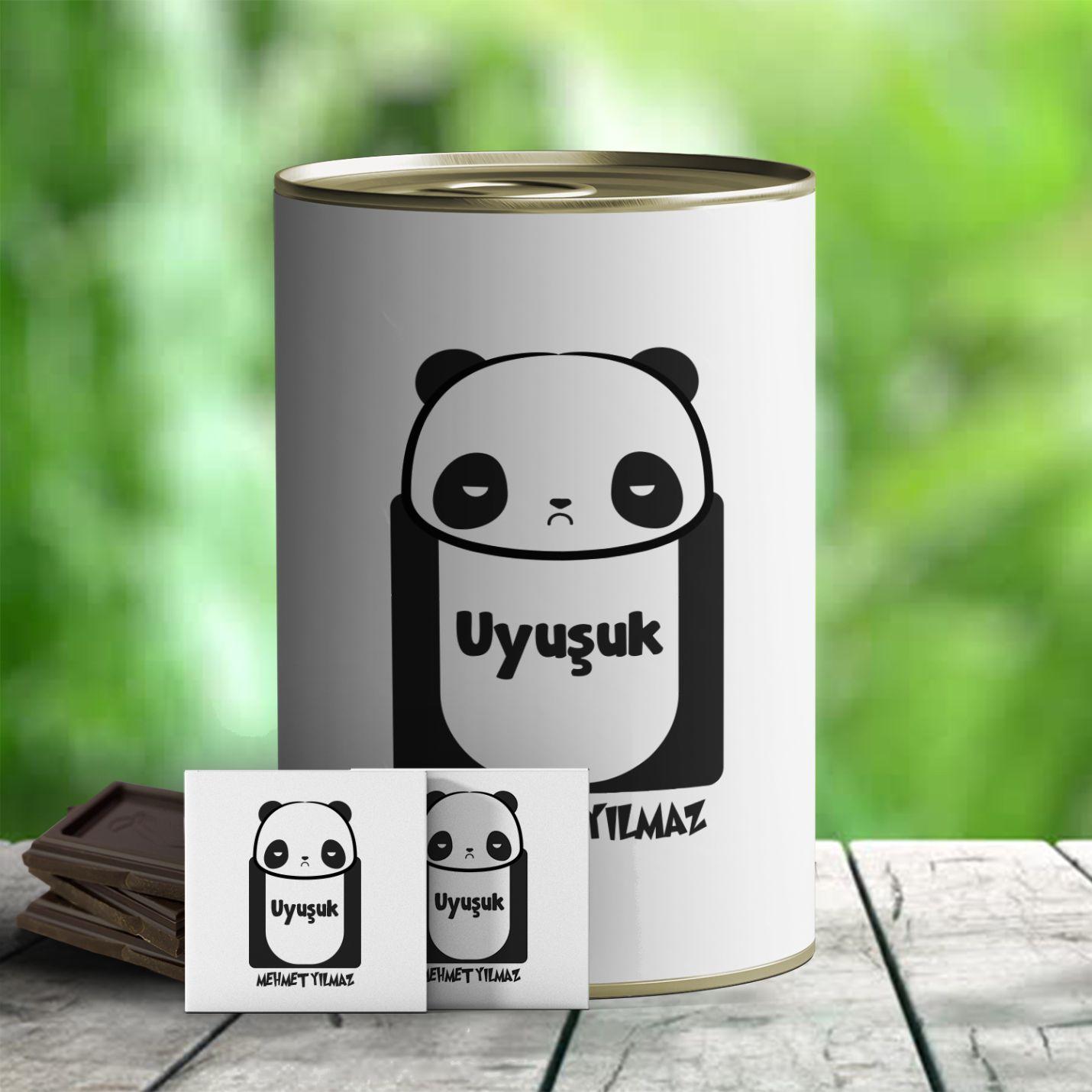 Kişiye Özel Uyuşuk Panda Temalı Hediye Konservesi