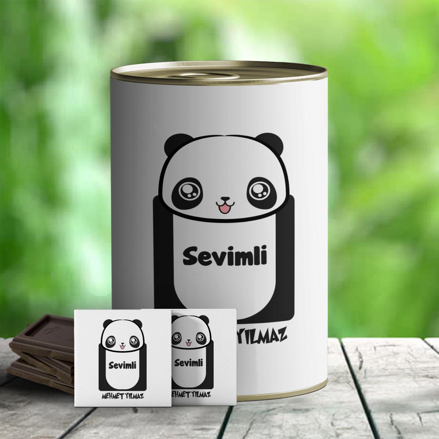 Kişiye Özel Sevimli Panda Temalı Hediye Konservesi