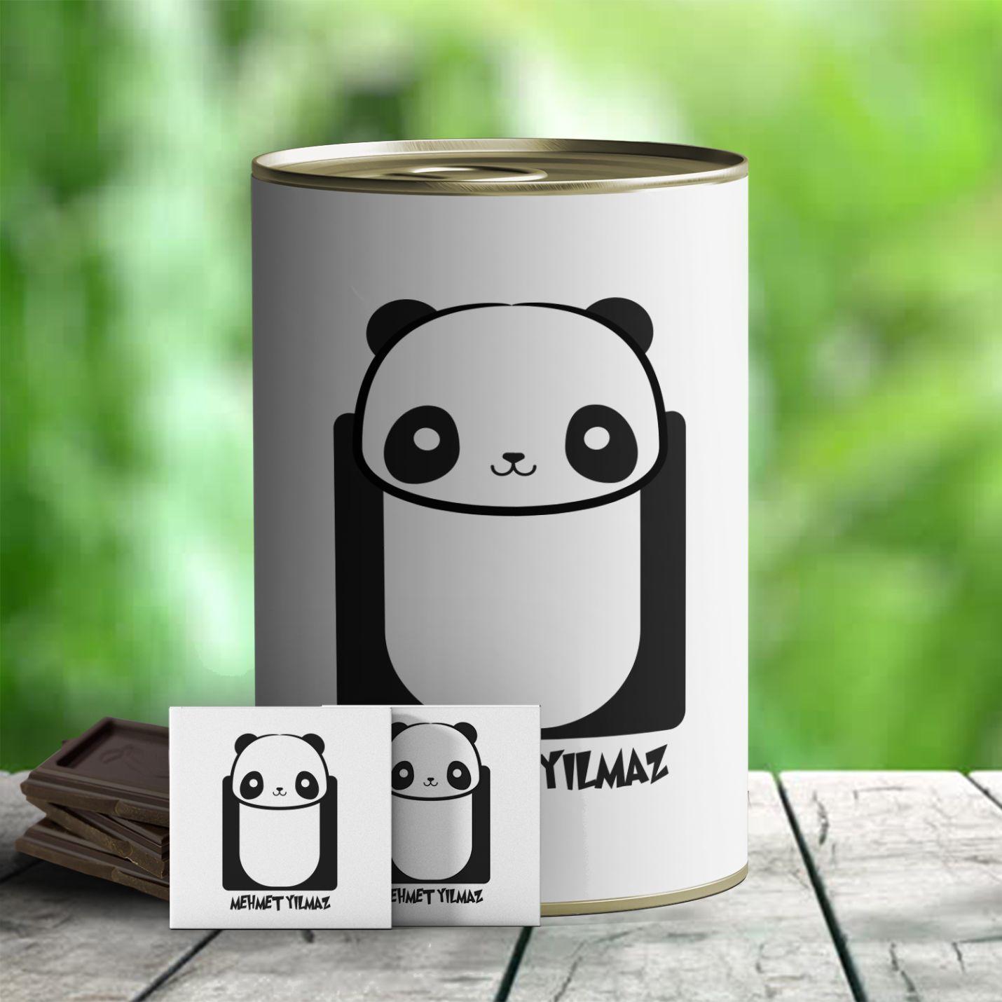 Kişiye Özel  Panda Temalı Hediye Çikolata Konservesi