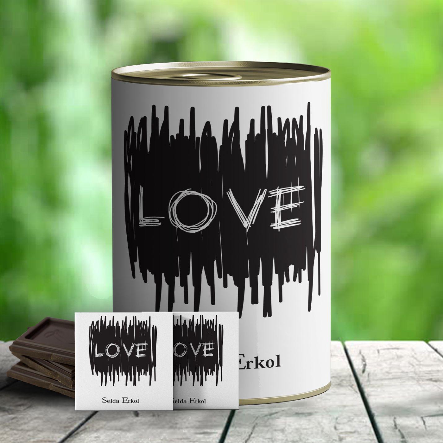 Kişiye Özel Love Temalı Hediye Çikolata Konservesi