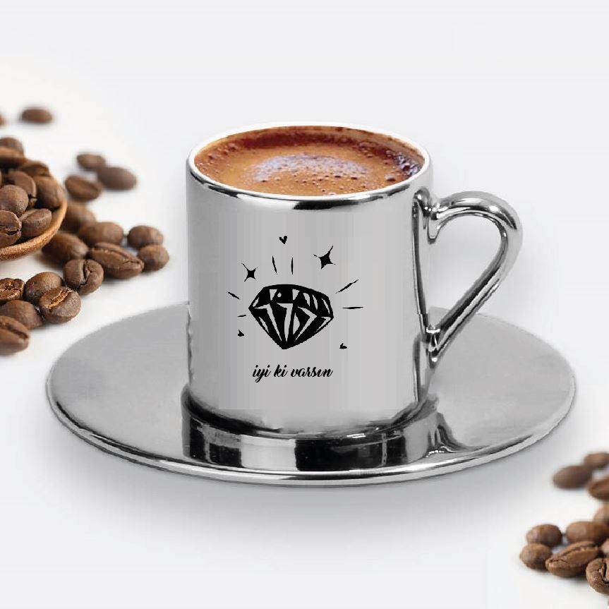 Pırlanta Tasarımlı Türk Kahve Fincanı - 19
