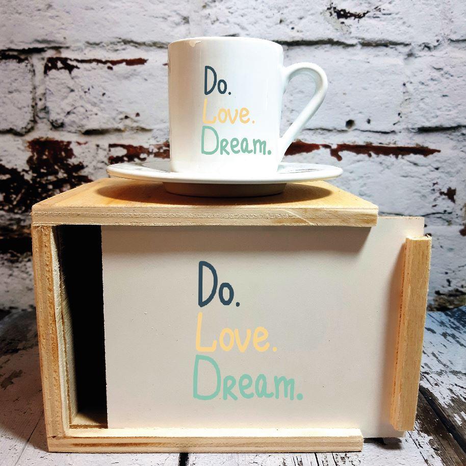 Do Love Dream Ahşap Kutulu Kahve Fincanı