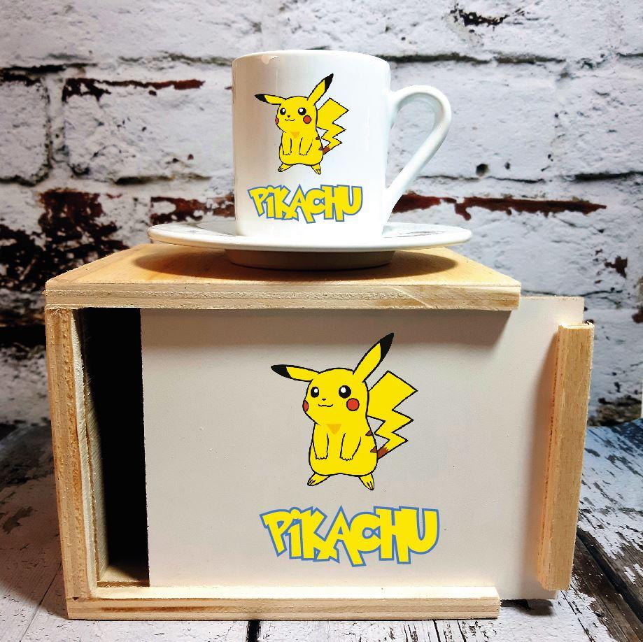 Pikachu Ahşap Kutulu Kahve Fincanı