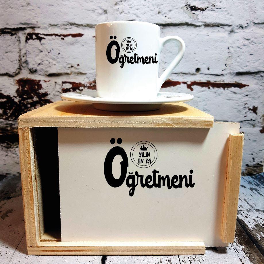 Yılın Öğretmeni  Ahşap Kutulu Kahve Fincanı