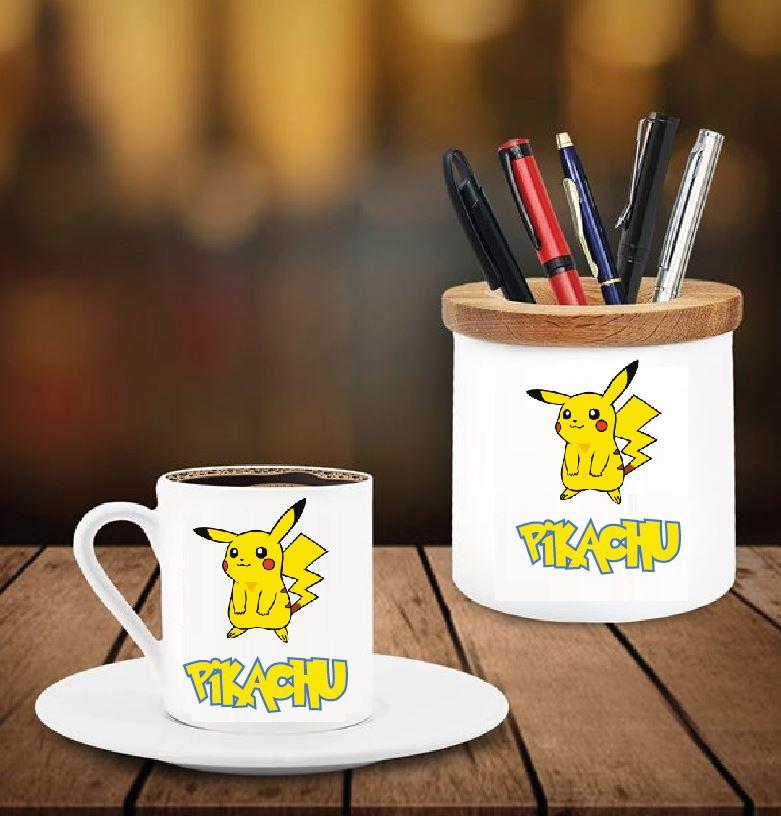 Pikachu Tasarımlı Kalemlik ve Kahve Fincanı