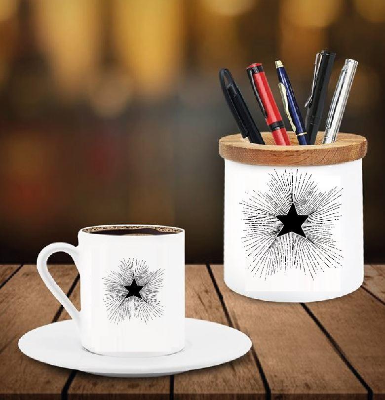 Yıldız Tasarımlı Kalemlik ve Kahve Fincanı