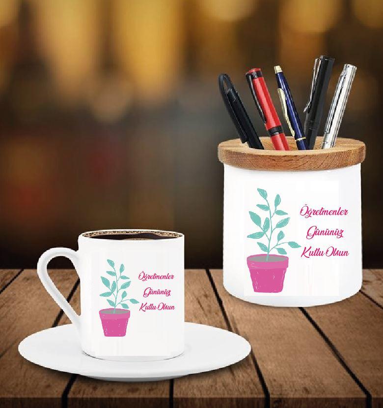 Öğretmenler Günü Tasarımlı Kalemlik ve Kahve Fincanı