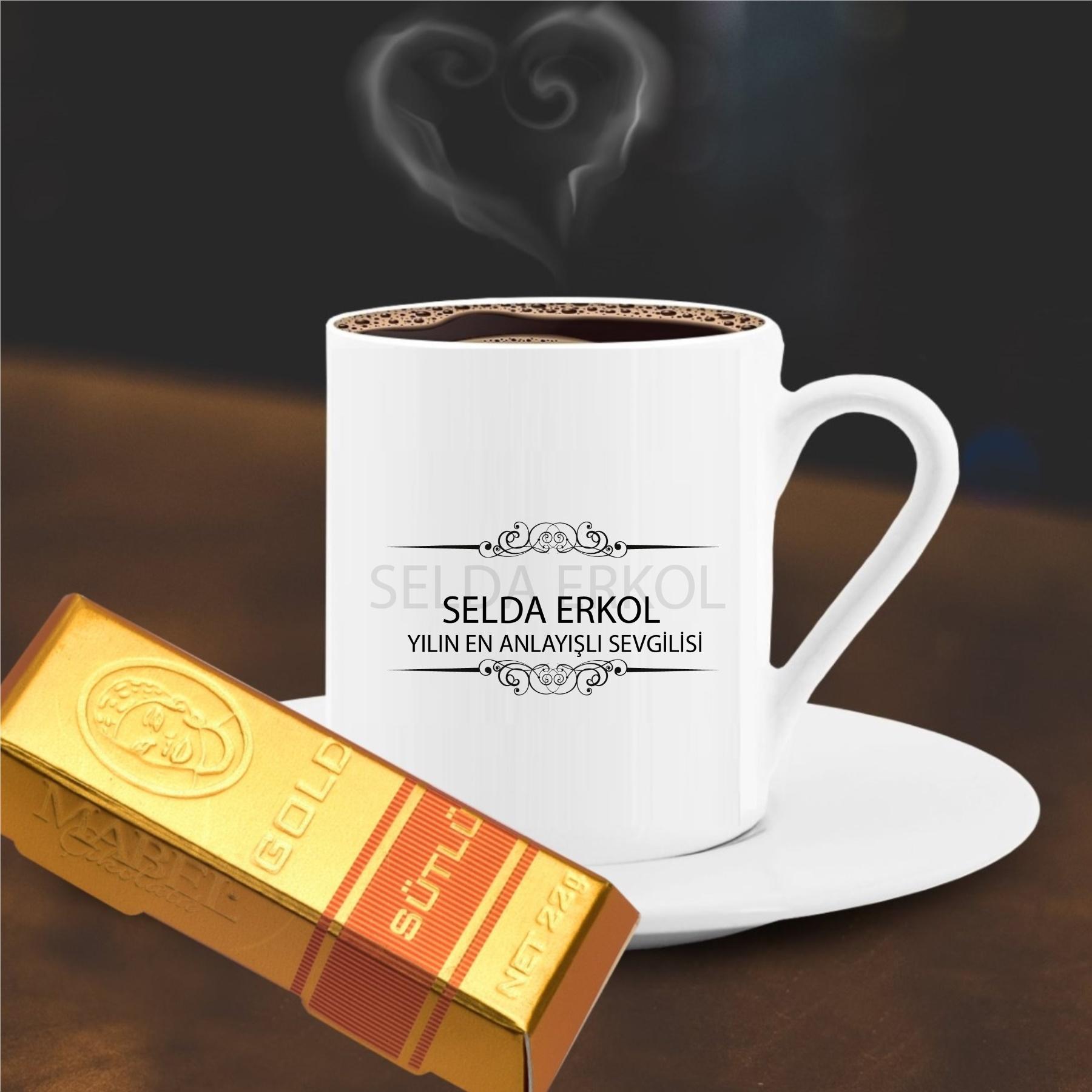 Kişiye Özel İsim ve Meslek Temalı Altın Külçe Çikolata ve Kahve Fincanı -28