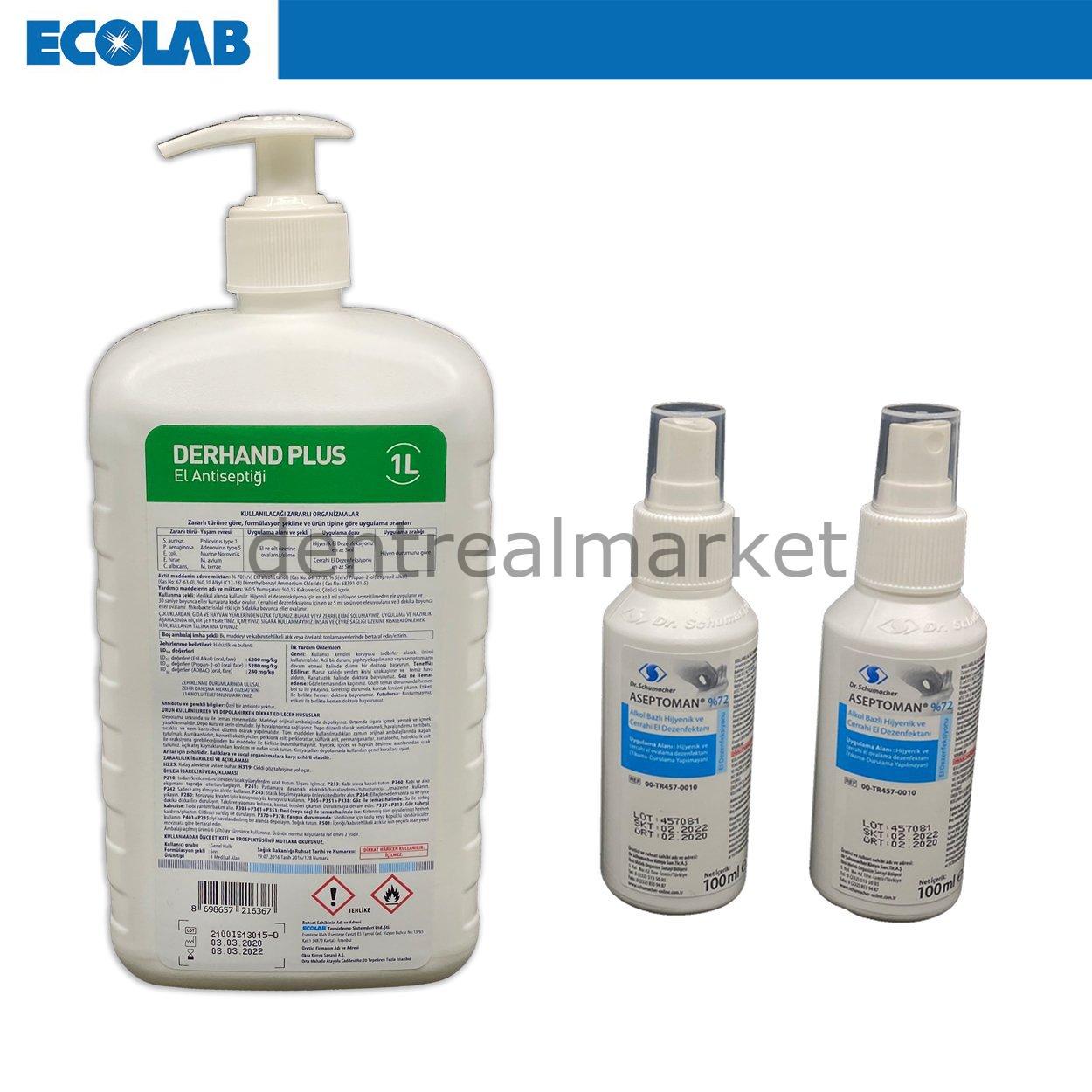 Derhand Plus 1 Lt + 2 Adet Aseptoman 100 ml El Dezenfektanı
